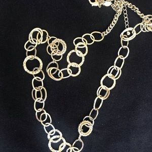 Chico's gold hammered necklace